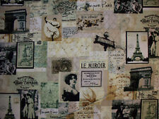 VINTAGE PARIS FRENCH LE MIROIR EIFFEL TOWER COTTON FABRIC BTHY