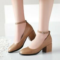 Womens Ankle Strap Buckle Mary Jane Block High Heels Round Toe Casual Shoes Work