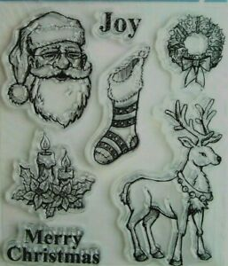 Santa Reindeer Wreath Christmas Clear Acrylic Stamp Set Recollections 146641