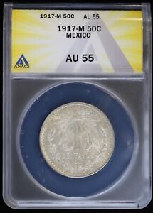 1917 M Mexico Silver 50 Centavos ANACS AU55 About Uncirculated KM 445