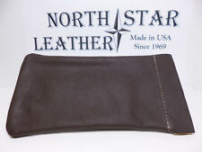 North Star Brown Squeeze Open/Snap Close Soft Leather Glasses Case-2nds-USA#921