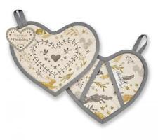 Woodland Design Set of 2 Heart Shape Cotton Pot Holder Mitt