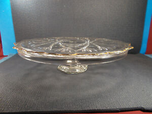 """Mikasa Crystal Hampshire Gold Pattern Cake Stand 14 1/4"""" Wide x 3 1/4"""" T"""