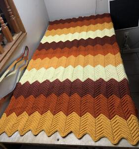 Vintage Brown Multi Zig Zag Afghan Crochet Knitted Blanket Quilt Handmade 69x40