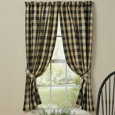 Country Farmhouse Black Wicklow Panel Curtains 72Wx63L Buffalo Check Cotton