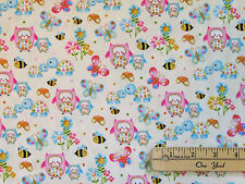 Woodland Cuties Owl Turtle Butterfly Bee Ivory Fabric by the 1/2 yd #9975