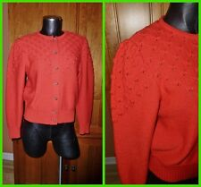 Vtg Rockabilly RED Pure 100% WOOL KNIT Boho CARDIGAN SWEATER Sz 42 M