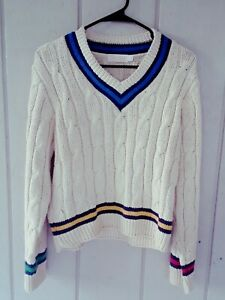Brooks Brothers Chunky Cable Knit Sweater V-neck Women's Size Medium