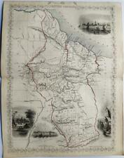 BRITISH GUIANA - GUYANA, FINE ENGRAVED TALLIS / RAPKIN MAP, 1851, FINE VIGNETTES