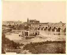 Espagne, Córdoba, puente y antiguos molinos árabes Vintage albumen print Tirag
