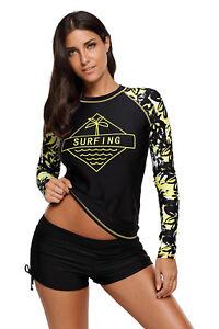 Women's Long Sleeve UV Sun Protection UPF 50+ Swimsuit Rash Guard Surf Swim Top