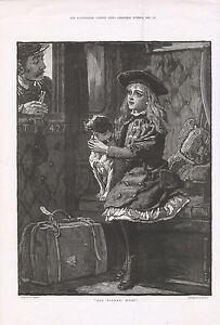OLD 1882 PRINT GIRL AND FOX TERRIER ON A TRAIN GUARD ASKING DOG TICKET MISS b176