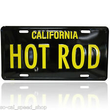 VTG STYLE BLACK & YELLOW CA LICENSE PLATE HOT ROD RAT STREET CUSTOM YOM GASSER