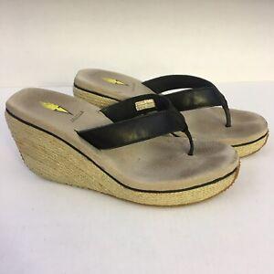 Volatile Black Leather Straw Braided Platform Wedge Thong Flip Flop Sandals 9