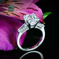 Three Stone 1.31 Carat SI1 H Princess Diamond Engagement Ring White Gold