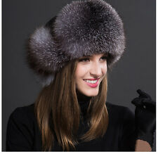 Women Real Fox Fur Hat Russian Winter Warmer Ear Cap Ushanka Cossack Ski Silver