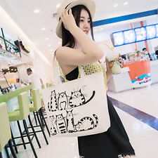 Fashion Women Cartoon Cats Big Shopping Tote Canvas Shoulder Zipper Bag Handbag
