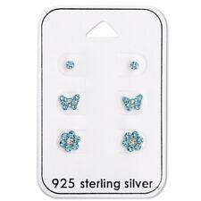 Sterling Silver 3 Pair Lot Blue Aqua Crystal Tiny Flower Kids Stud Earrings 2393