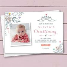 10 Personalised Christening Invitations invites girl