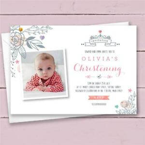 10 Personalised Christening Invitations invites girl