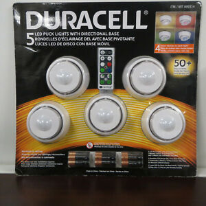 Duracell 5 LED Puck Lights Directional Base Wireless Remote Control + Batteries
