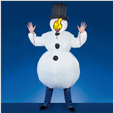 New Inflatable Santa Costume Christmas Gift Mens Xmas Fancy White Dress Suit AC