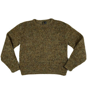 Vintage Jockey Mohair Sweater Grunge Fuzzy Men's Medium Shetland Wool Brown Old