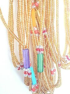 African Waist Beads 3 in 1  gold and  muilticoloured