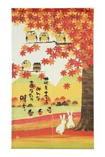 JAPANESE Noren Curtain NEW RABBIT OWL BIRD MADE IN JAPAN
