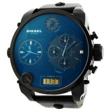 Diesel Men's DZ7127 SBA Chrono Dial 4 Time Zones Digital Black Leather Watch
