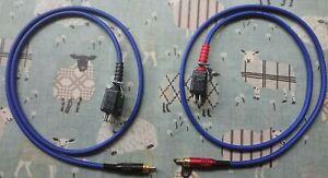 Pair of QUAD II Monoblock Jones Plug to phono plug leads 1 meter