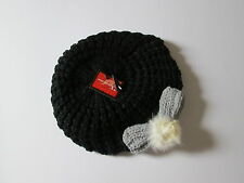 NEW Womens black beret grey bow white fluffy pom pom hat winter christmas