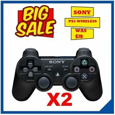 2 X Playstation 3 Controller Sony Wireless PS3 Dualshock Controllers PS 3 Black