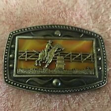 A Rodeo With Engraved Design Snap On Rodeo Belt Buckle Cii New York Inlay Of