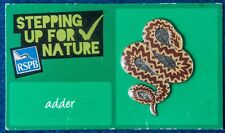 RSPB  steppng up for Nature PIN BADGE card :-  adder (s1a)