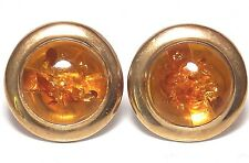 9CT YELLOW GOLD  CABOCHON AMBER  STUD EARRINGS BUTTERFLY BACKS