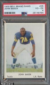 1959 Bell Brand Rams #25 John Baker Los Angeles Rams PSA 4 VG-EX