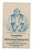 Old Trade Card Clayton's Segar Tobacco Store Nicetown Philadelphia Cigar Smoking