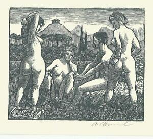 "Exlibris Bookplate ""NUDE- THE JUDGEMENT OF PARIS"" by Antonin ODEHNAL/CZECH"