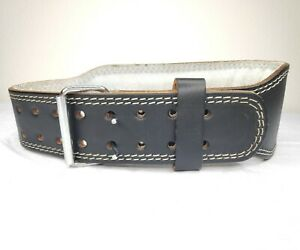 Altus Black Leather Foam Padded Weight Lifting Wide Belt Double Prong Size Small