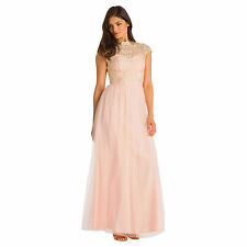 % Chi Chi cabasag Vestido Maxi rosa CLOUD S-XL (uk10-16)