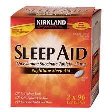 Kirkland Sleep Aid sleeping pills 192 caplets Doxylamine Succinate 25 mg Tablets