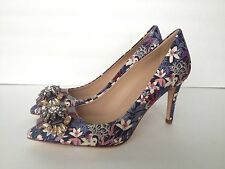J.CREW Collection Everly Printed Jeweled Toe Pumps sz 6.5 Floral 06703 $450