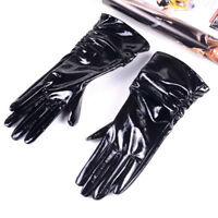Women's Genuine Patent leather Shiny Black Mid-Long evening gloves Ruched Gloves