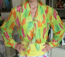 Women Shirt 90s #Vintage #fashion HOT STUFF colorful fluorescent M Pink orange