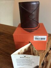 HIDESIGN BROWN LEATHER DESK PEN HOLDER POT (20 YEARS OLD) WITH ORIGINAL BOX NEW