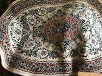 Hand-woven Persian carpets pastel cream pink green multi wool, art exhibition