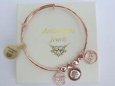 ARABESQUES JEWELS MUM LOVE HEART CHARM STACKING BANGLE/BRACELET. STERLINA MILANO