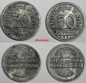 Germany Weimar Republic LOT OF 2 COIN Aluminum 1921 F 50 Pfennig KM# 27 (3593)