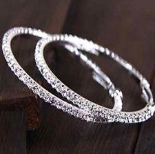 e267aaefabe4 FD743 Pendiente de Plata Plateado Diamante Cristal De Imitación Aro Círculo  Joyería